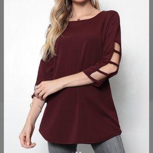 Burgundy Cutout 3/4 Sleeve Tunic, L